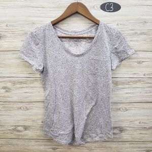 Loft Light Purple & Gray Floral Short Sleeve Top